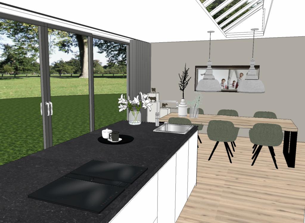 Interieurontwerp woonkamer en woonkeuken wijchen